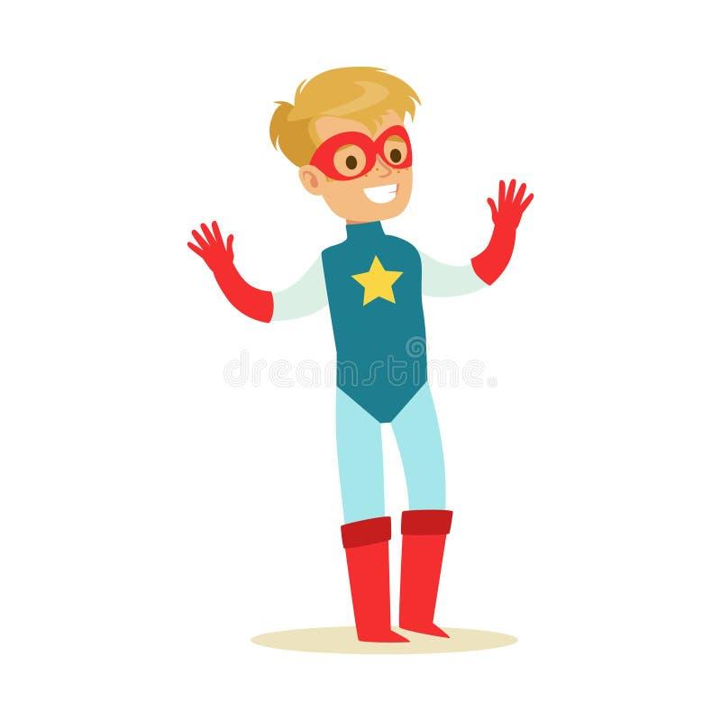 Garçon feignant pour avoir des super pouvoirs habillés dans le costume bleu de super héros avec l'étoile et pour masquer le carac illustration stock