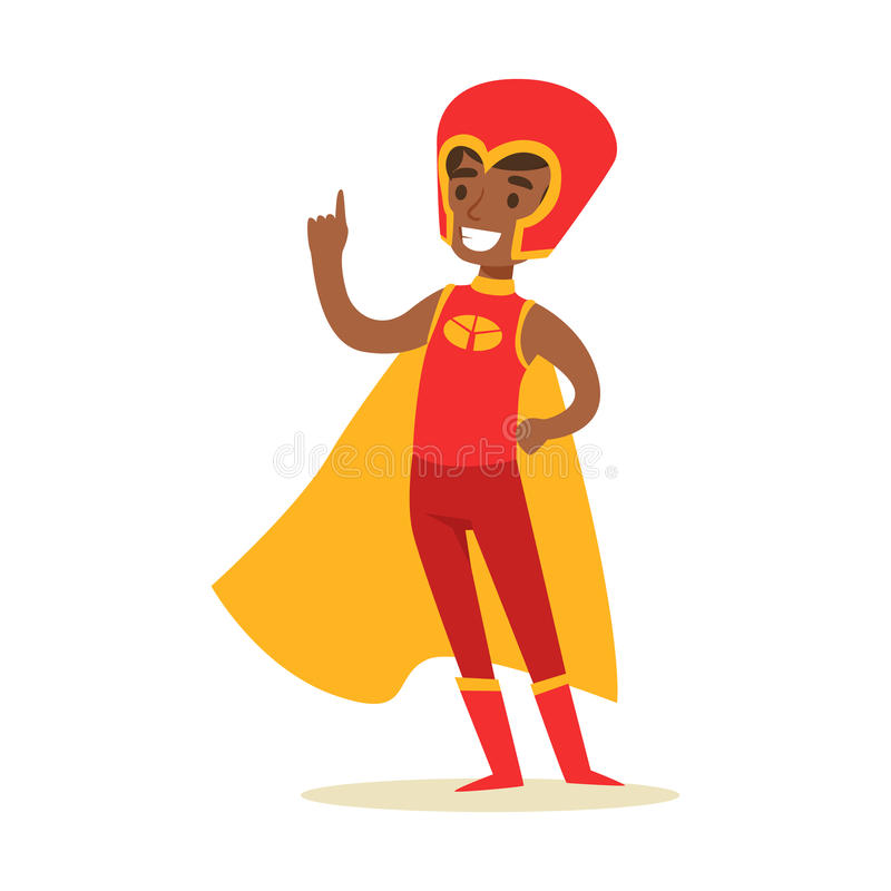 Garçon feignant pour avoir des super pouvoirs habillés dans le costume rouge de super héros avec le caractère de sourire jaune de illustration de vecteur
