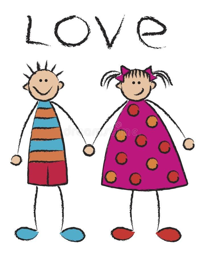 Garçon + fille = amour (groupe) illustration libre de droits