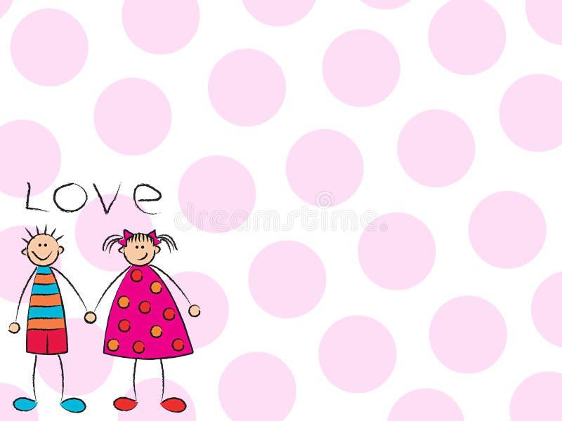Garçon + fille = amour (rose) illustration libre de droits