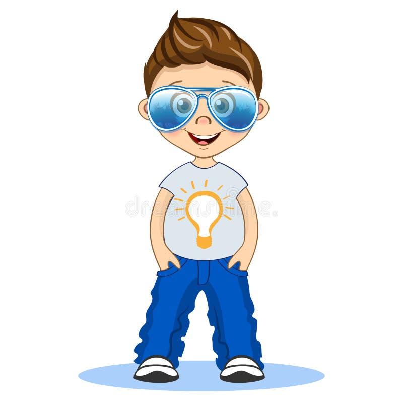 Garçon frais avec des lunettes d'aviateur dans le T-shirt et des jeans Illustration de bande dessinée d'isolement par vecteur illustration libre de droits