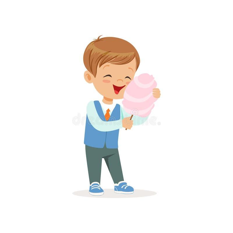 Garçon gai de bande dessinée mangeant la sucrerie de coton douce sur le bâton illustration stock