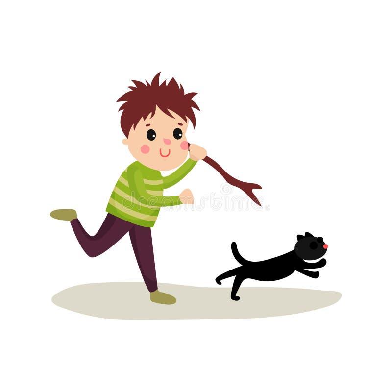 Garçon grossier courant après chat avec le bâton dans sa main, mauvais caractère d'enfant de bande dessinée illustration stock
