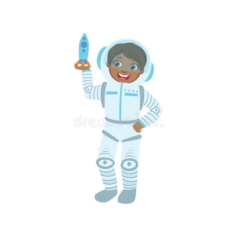 Garçon habillé comme astronaute Holding Toy Spaceship illustration stock