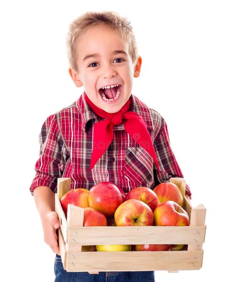 Garçon heureux d'agriculteur tenant des pommes images libres de droits