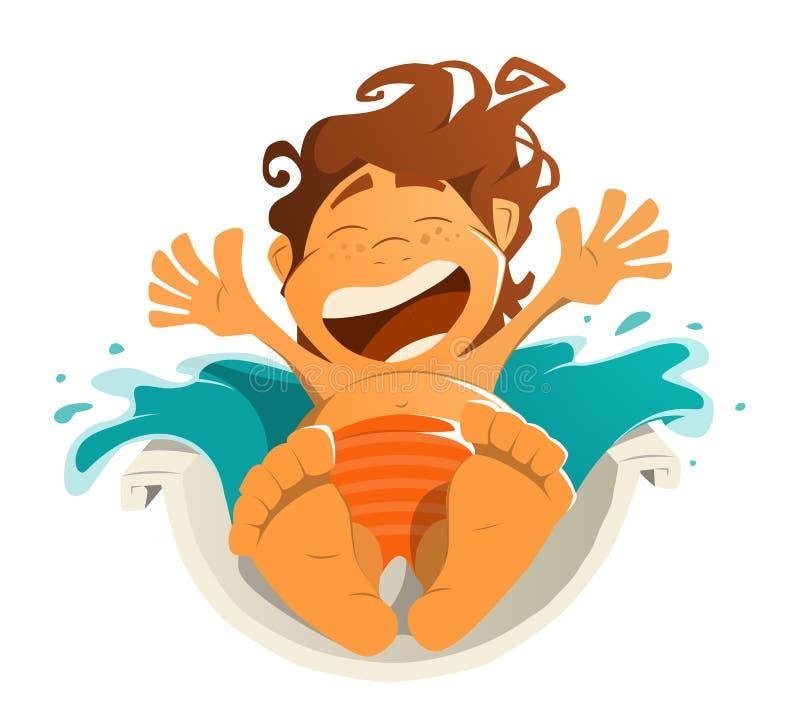 Garçon heureux d'enfant d'enfant de sourire dans le parc aquatique d'aquapark illustration stock