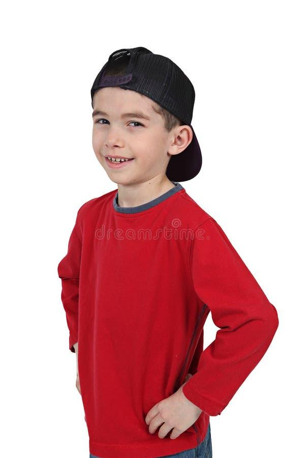 Garçon heureux dans la casquette de baseball image stock
