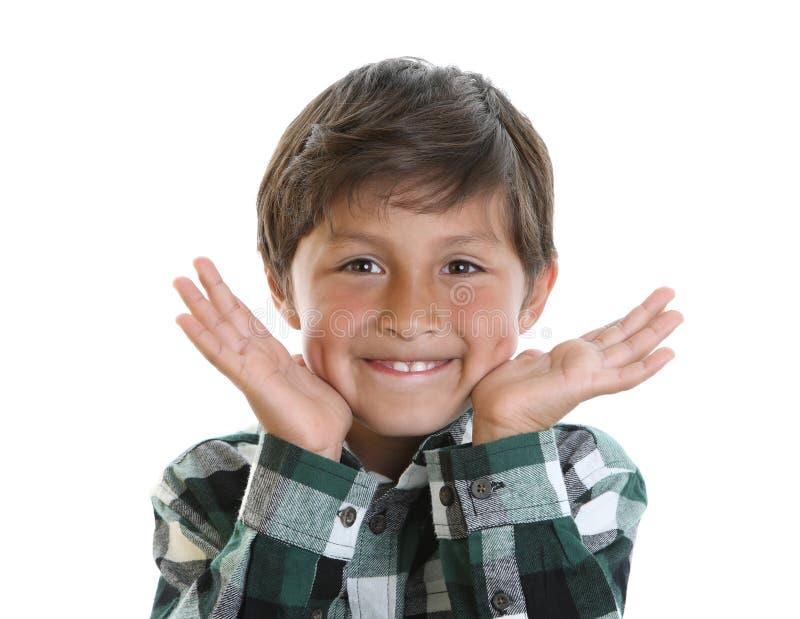 Garçon heureux dans la chemise de plaid photos libres de droits