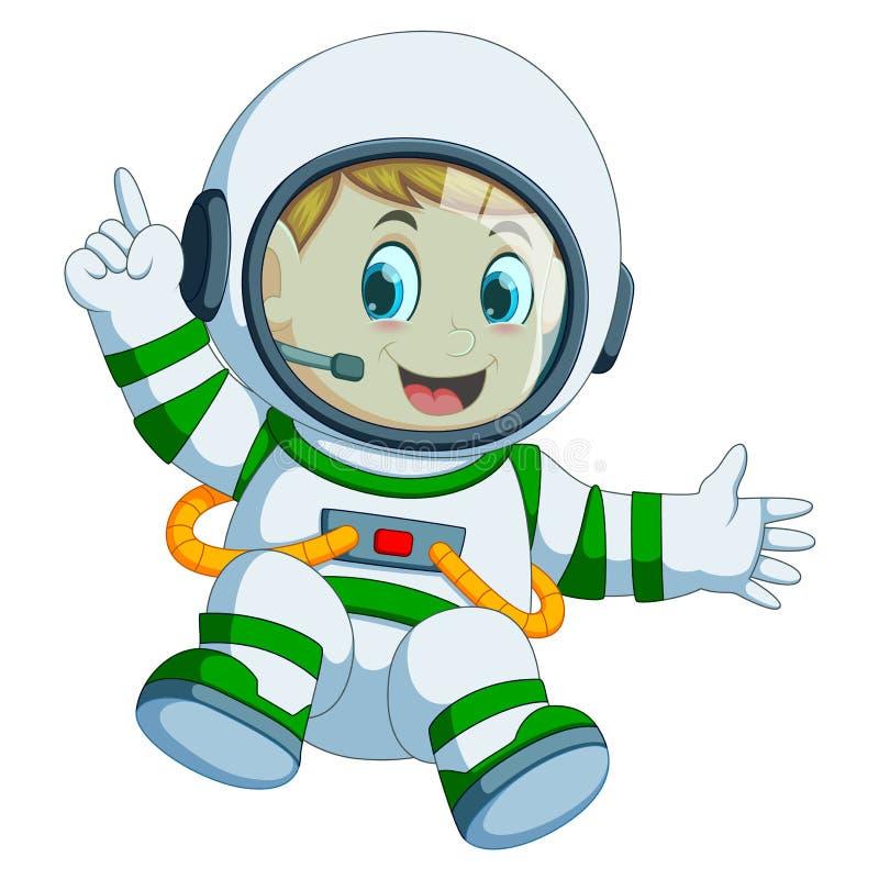 Garçon heureux dans le costume d'astronaute illustration stock