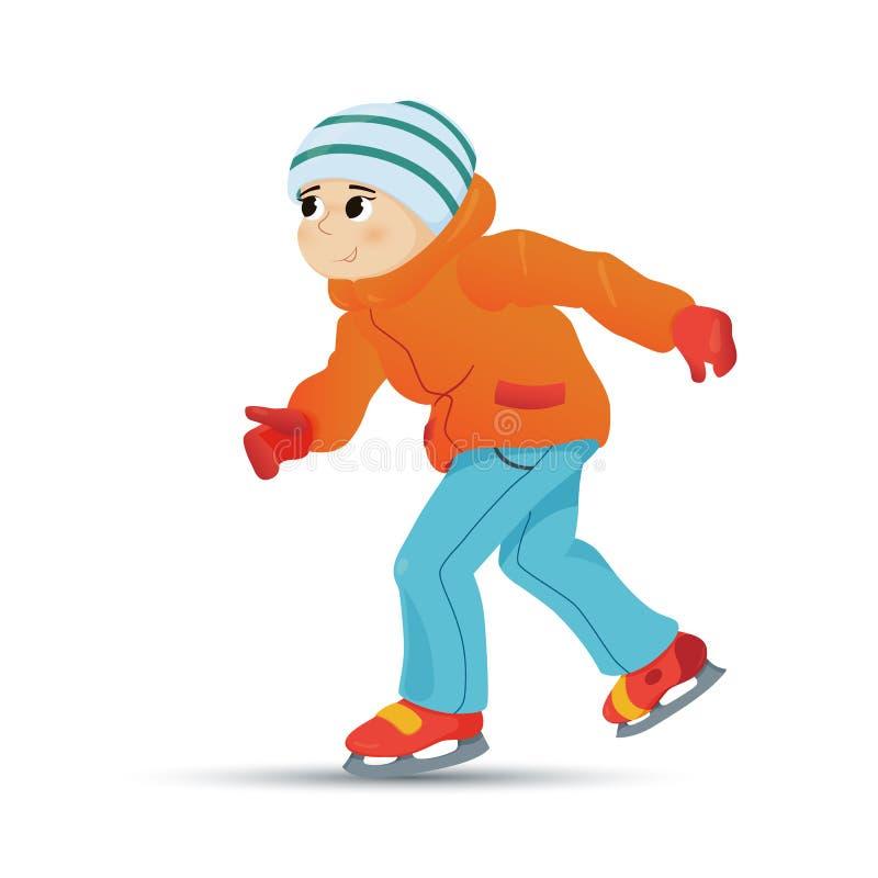 Garçon heureux dans le patinage de glace chaud de vêtements en hiver illustration libre de droits