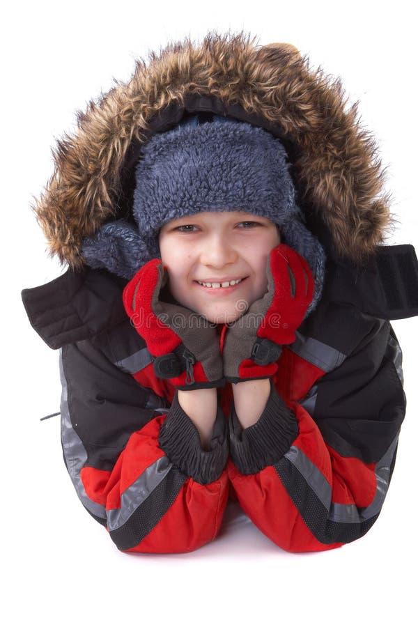 Garçon heureux de l'hiver photographie stock