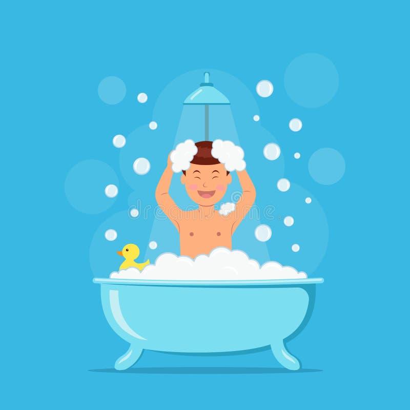 Garçon heureux prenant la douche Enfant dans le bain avec des bulles de savon et canard sur le fond bleu Illustration de vecteur  illustration libre de droits