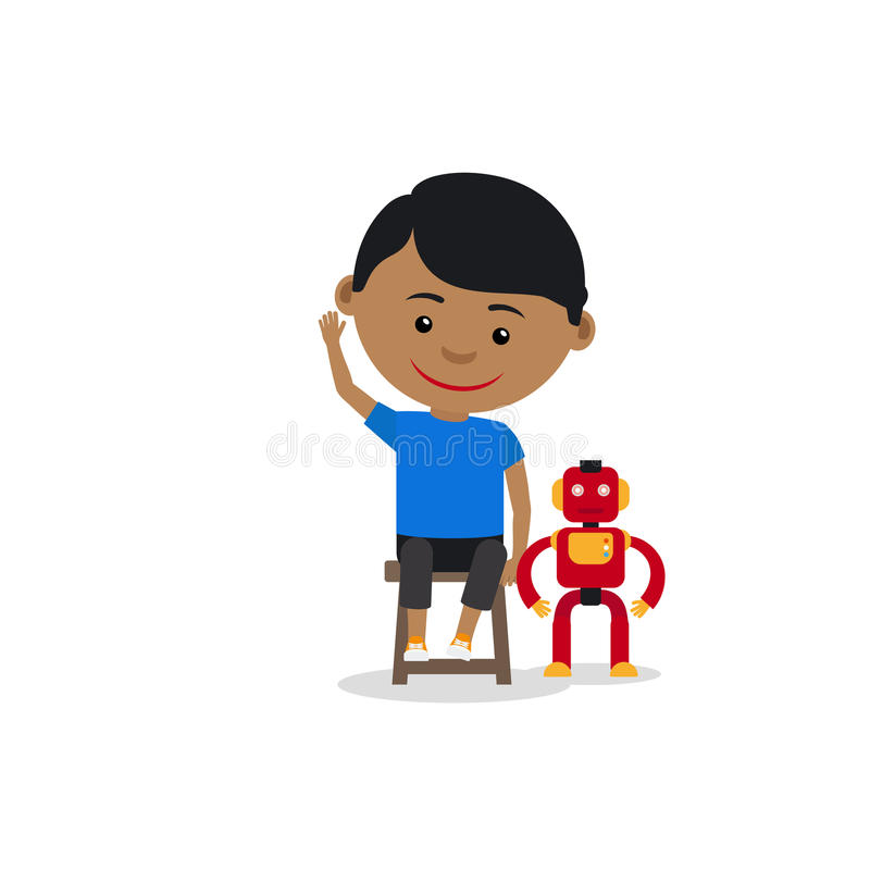 Garçon indien avec le robot de jouet illustration de vecteur