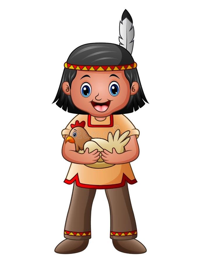 Garçon indien indigène avec la poule illustration de vecteur