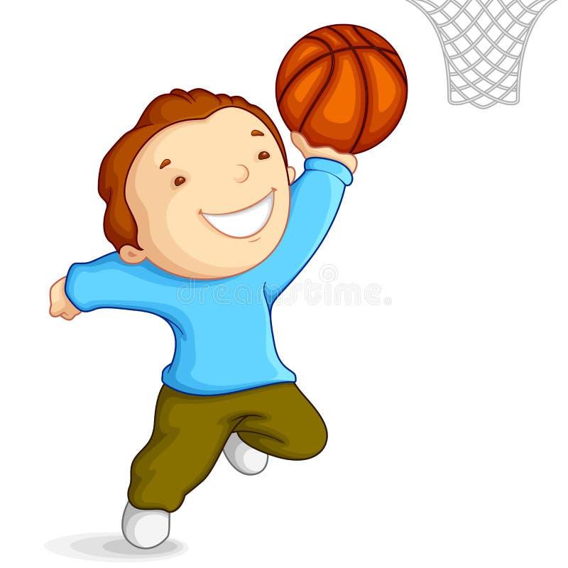 Garçon jouant au basket-ball illustration de vecteur