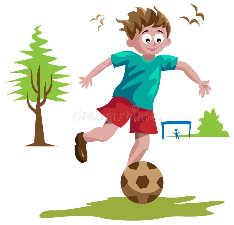Garçon jouant au football illustration stock
