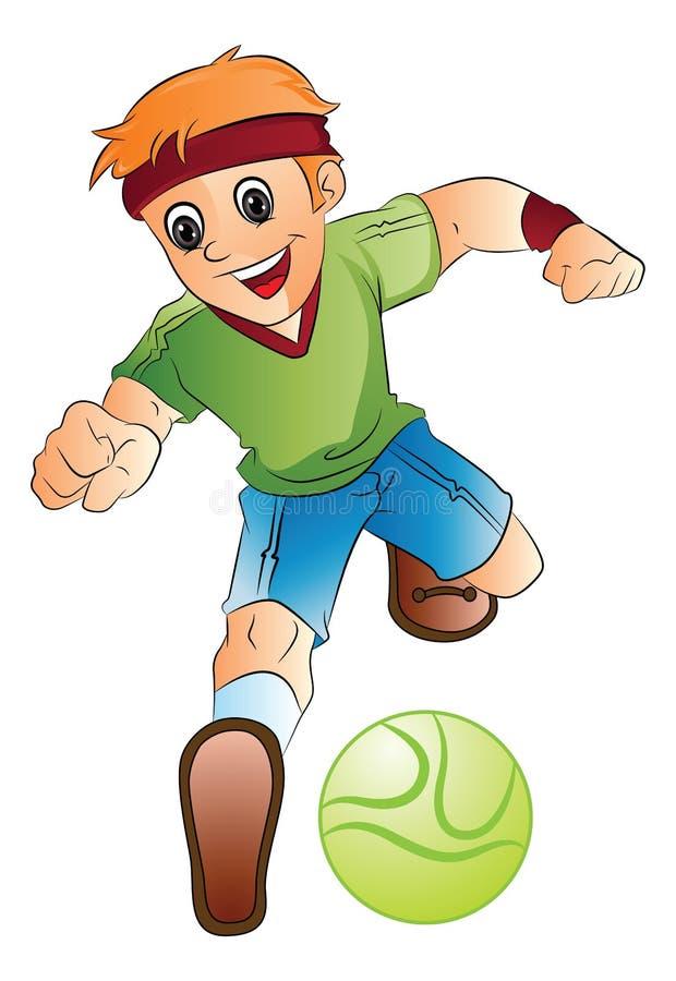 Garçon jouant au football, illustration illustration libre de droits