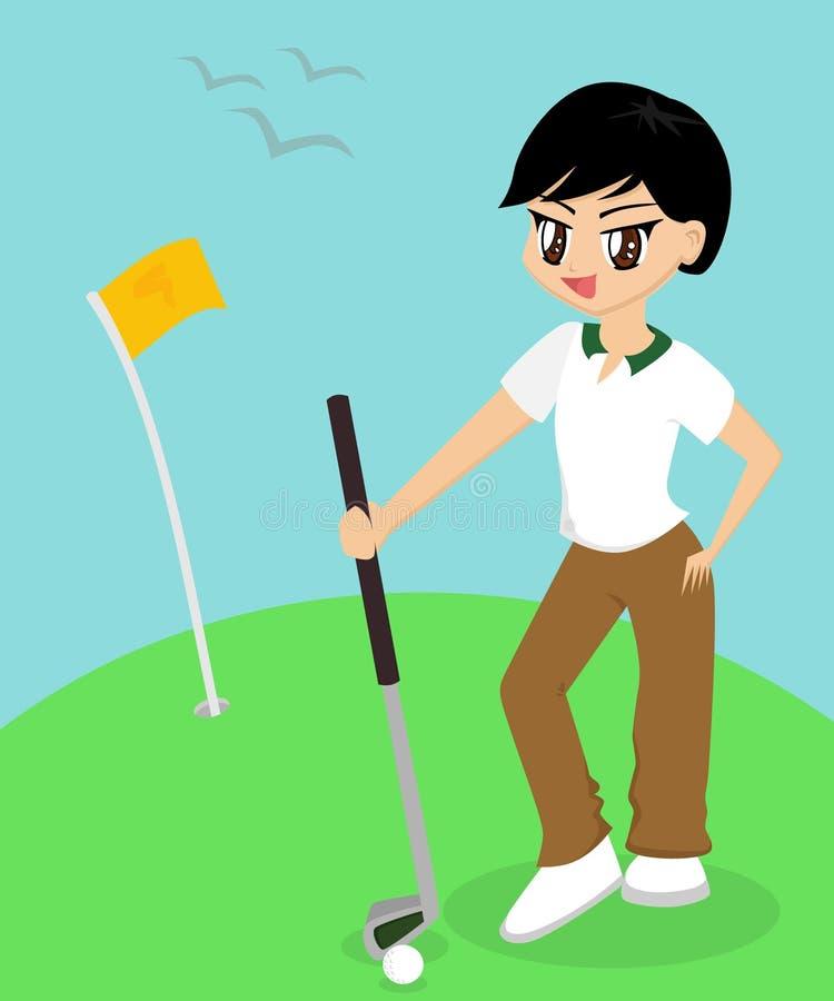 Garçon jouant au golf illustration de vecteur