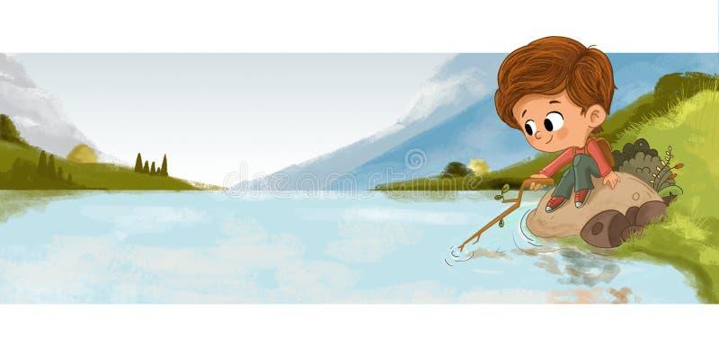 Garçon jouant avec de l'eau dans un lac avec un bâton illustration libre de droits