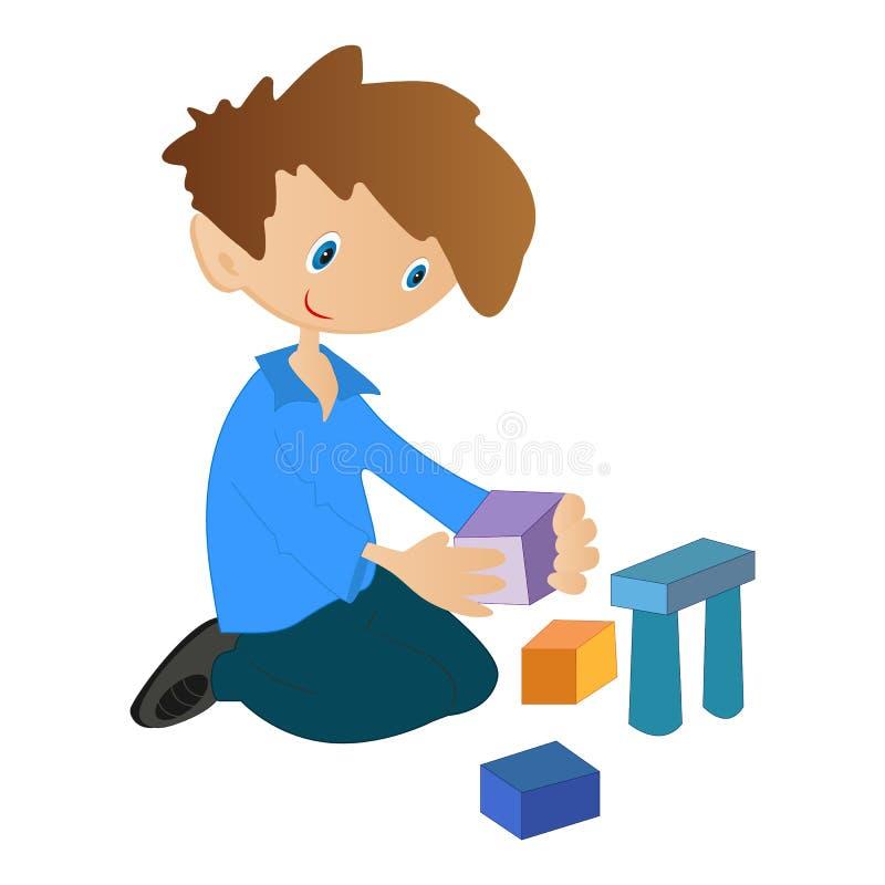 Garçon jouant avec des cubes image stock