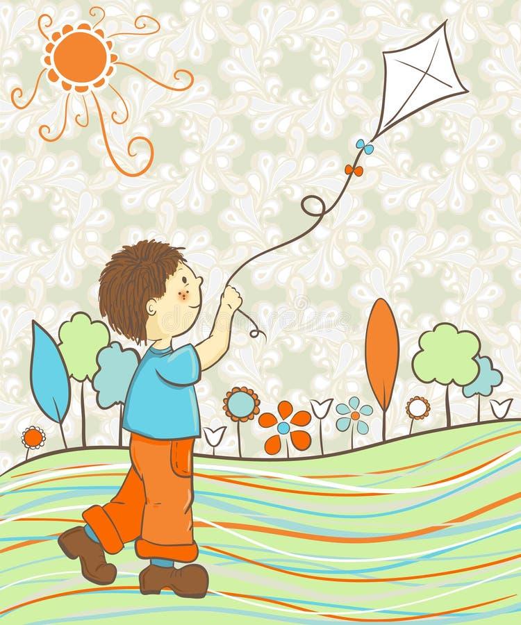 Garçon jouant avec le cerf-volant illustration libre de droits