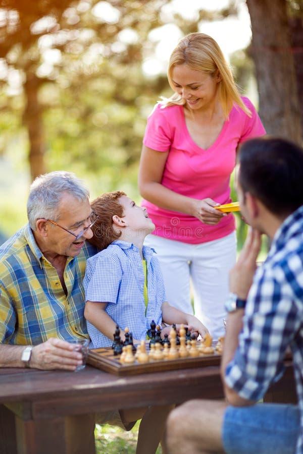Garçon jouant des échecs en parc image libre de droits