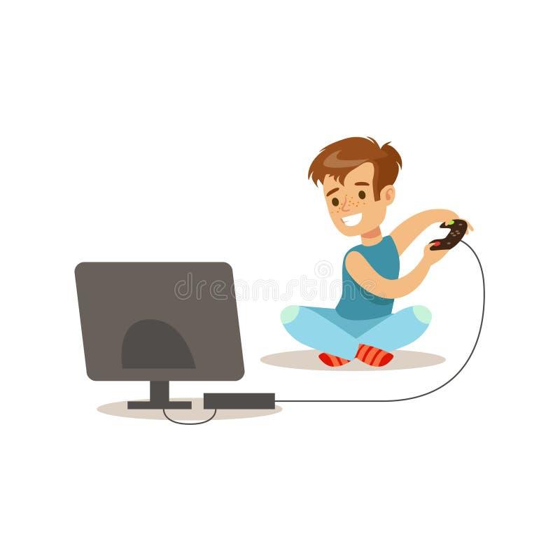 Garçon jouant des jeux vidéo de console, illustration classique de comportement prévue par rôle masculin traditionnel d'enfant illustration stock