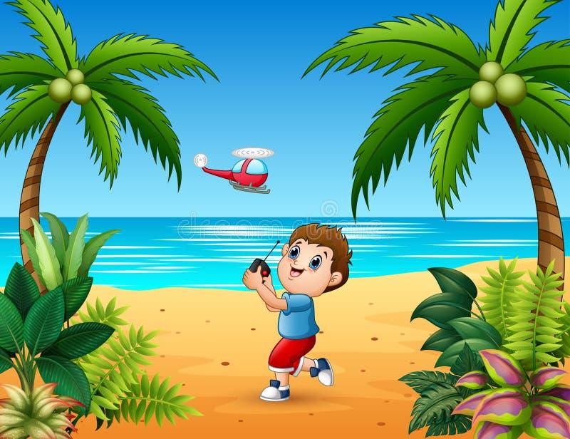Garçon jouant l'avion télécommandé à la plage illustration libre de droits