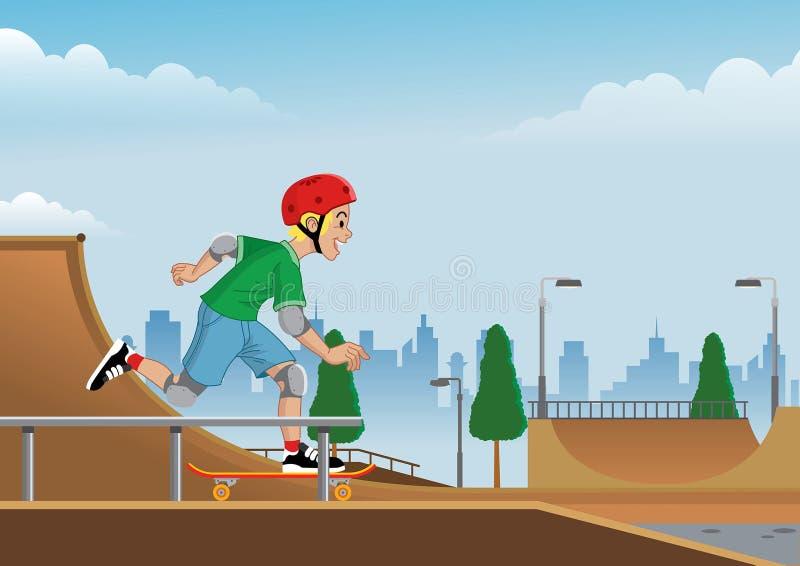 Garçon jouant la planche à roulettes sur le skatepark illustration stock