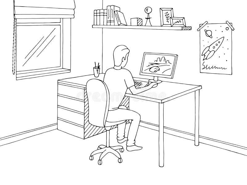 Garçon jouant le jeu d'ordinateur Vecteur intérieur blanc noir graphique d'illustration de croquis de pièce d'enfants illustration stock