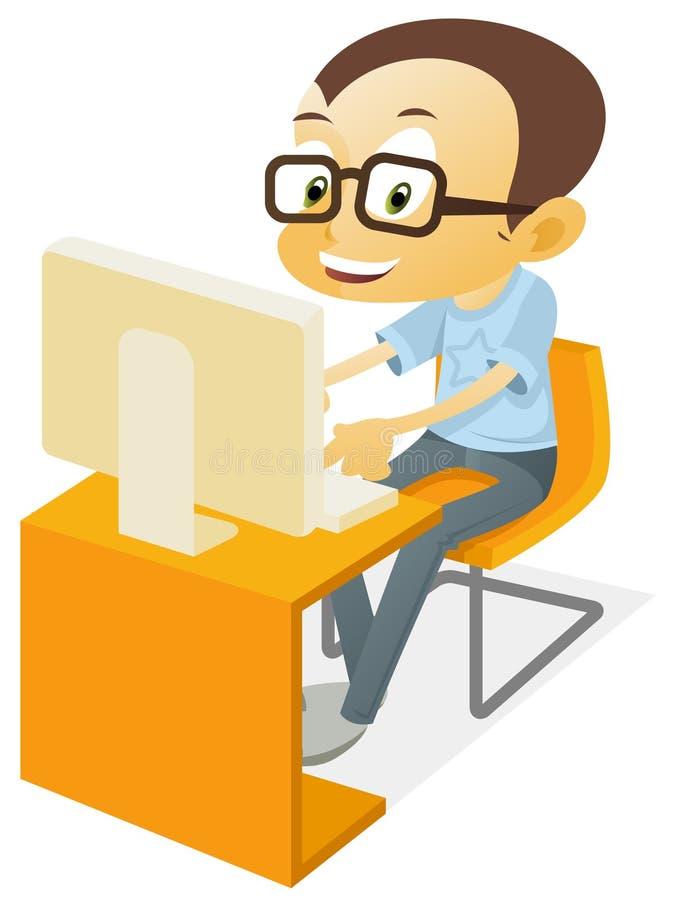 Garçon jouant un ordinateur illustration stock