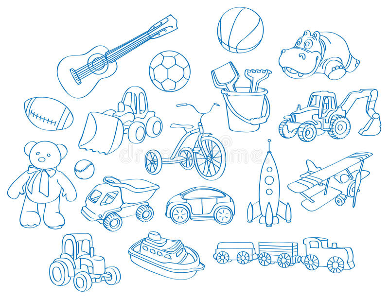 Garçon-jouets illustration stock