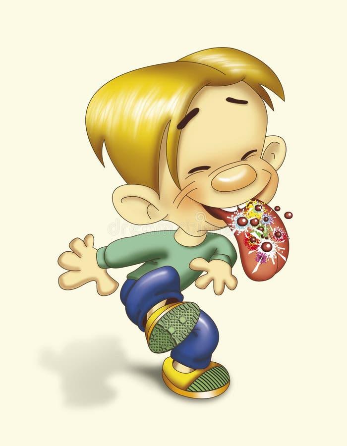 Garçon mangeant des roches de bruit illustration libre de droits