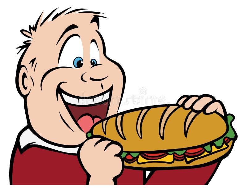 Garçon mangeant le sandwich illustration stock