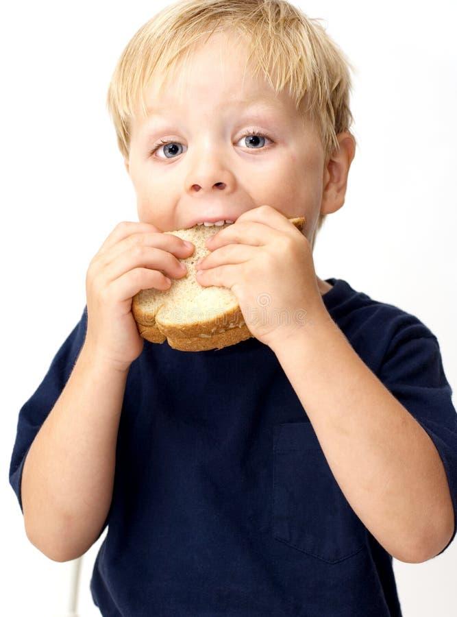 Garçon mangeant le sandwich image stock