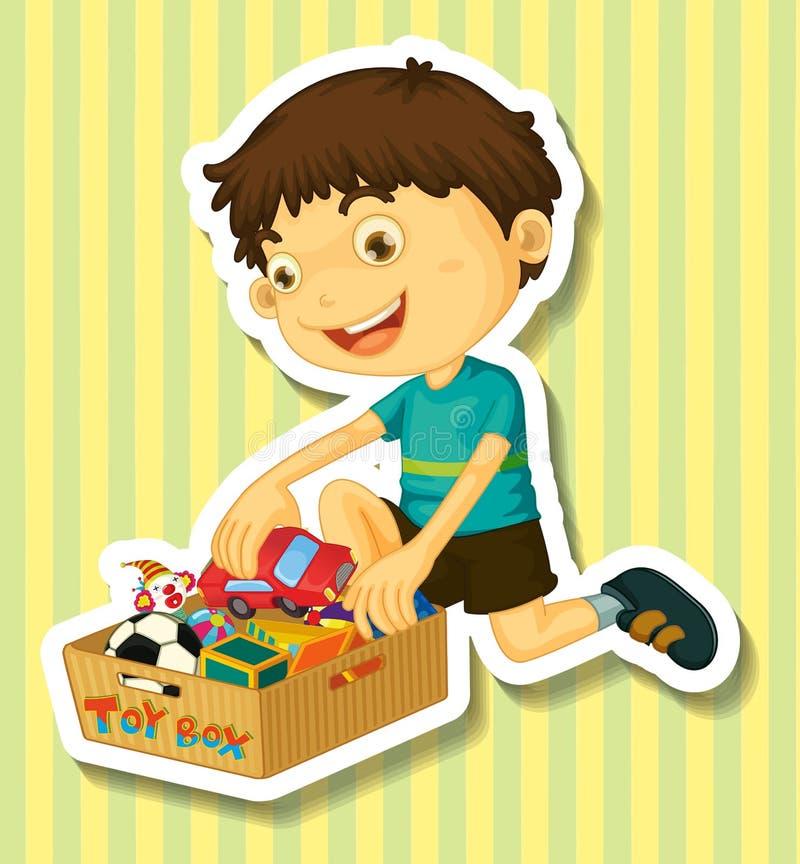Garçon mettant des jouets dans la boîte illustration de vecteur
