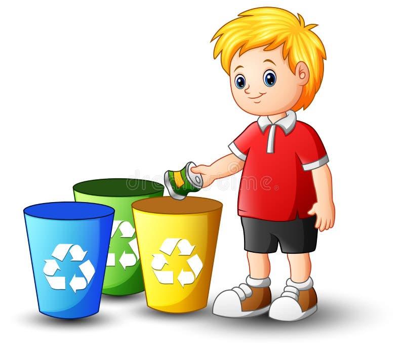 Garçon mettant l'aluminium dans le bac de recyclage illustration stock