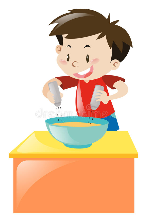 Garçon mettant le sel et le poivre en soupe illustration libre de droits