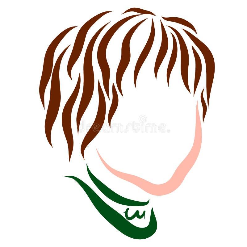 Garçon mignon avec les cheveux onduleux foncés, chef illustration stock