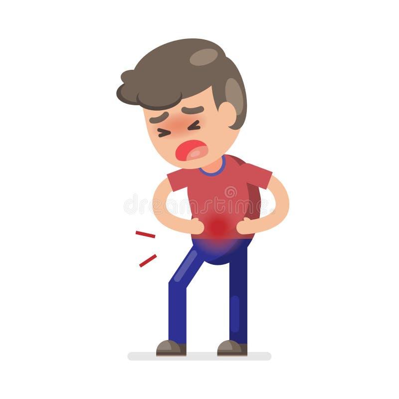 Garçon mignon ayant le mal d'estomac et souffrant de la douleur abdominale, illustration de caractère de vecteur illustration de vecteur