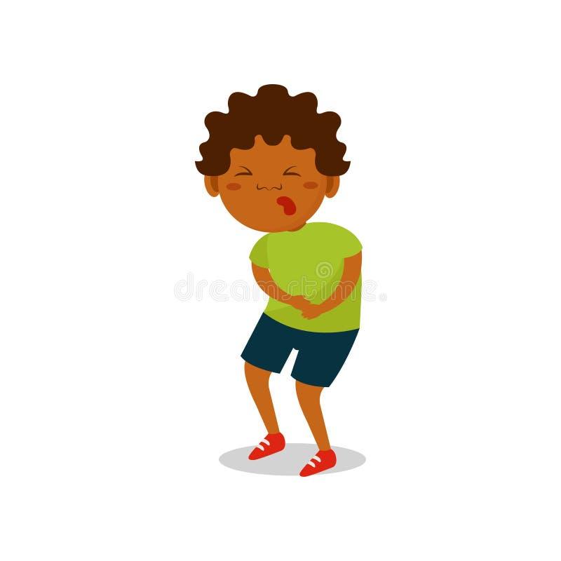 Garçon mignon d'afro-américain souffrant de l'illustration de vecteur de mal d'estomac sur un fond blanc illustration libre de droits
