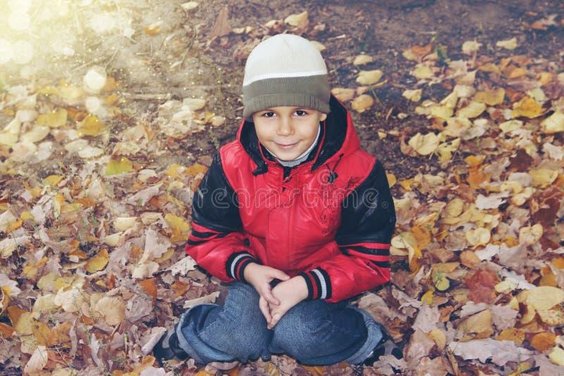 Garçon mignon dans des lames d'automne images libres de droits