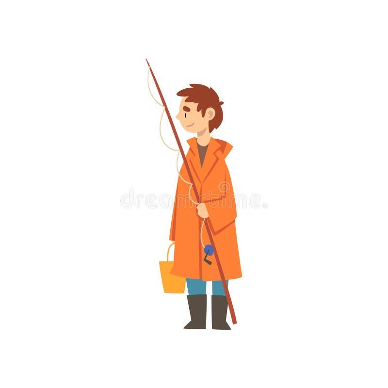 Garçon mignon dans l'imperméable avec canne à pêche et le seau, petite illustration de Cartoon Character Vector de pêcheur illustration libre de droits