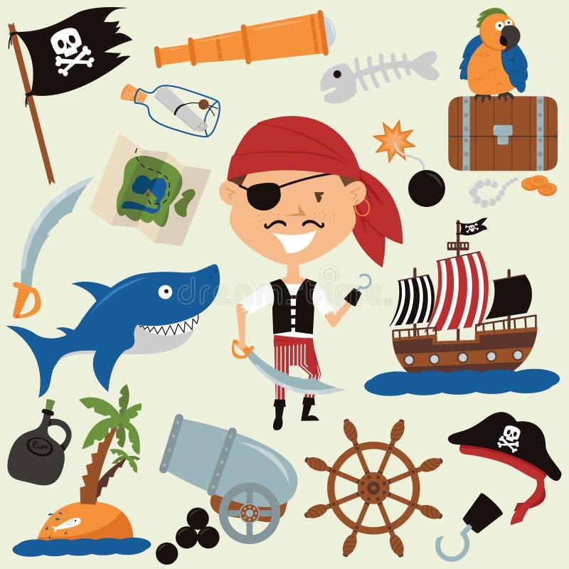 Garçon mignon dans un costume de pirate et de divers objets illustration de vecteur