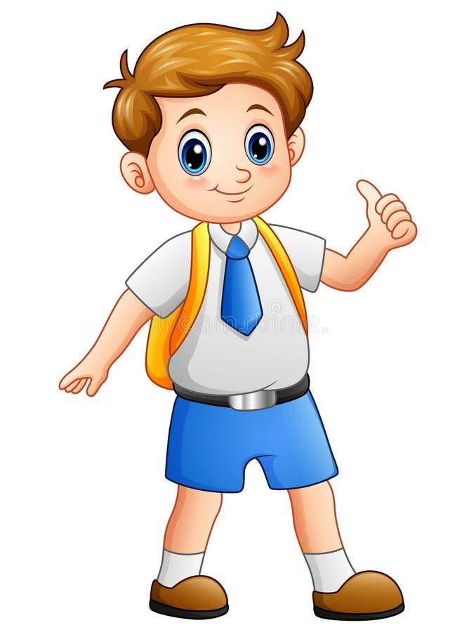 Garçon mignon dans un uniforme scolaire renonçant à des pouces illustration stock