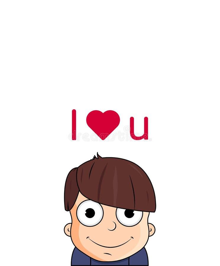Garçon mignon de bande dessinée avec des émotions d'amour Illustration de vecteur de caractère avec le coeur illustration de vecteur