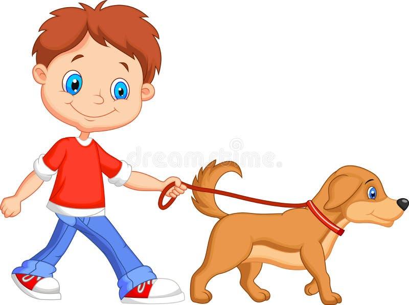 Garçon mignon de bande dessinée marchant avec le chien illustration de vecteur