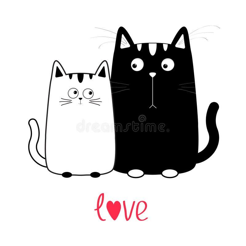 Garçon mignon de chat noir de bande dessinée et fille blanche Couples de Kitty la date Grand favori de moustache illustration stock