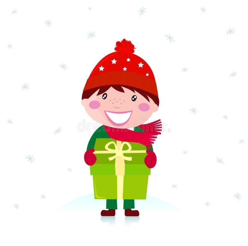 Garçon mignon de Noël avec le grand cadeau d'isolement sur le blanc illustration stock
