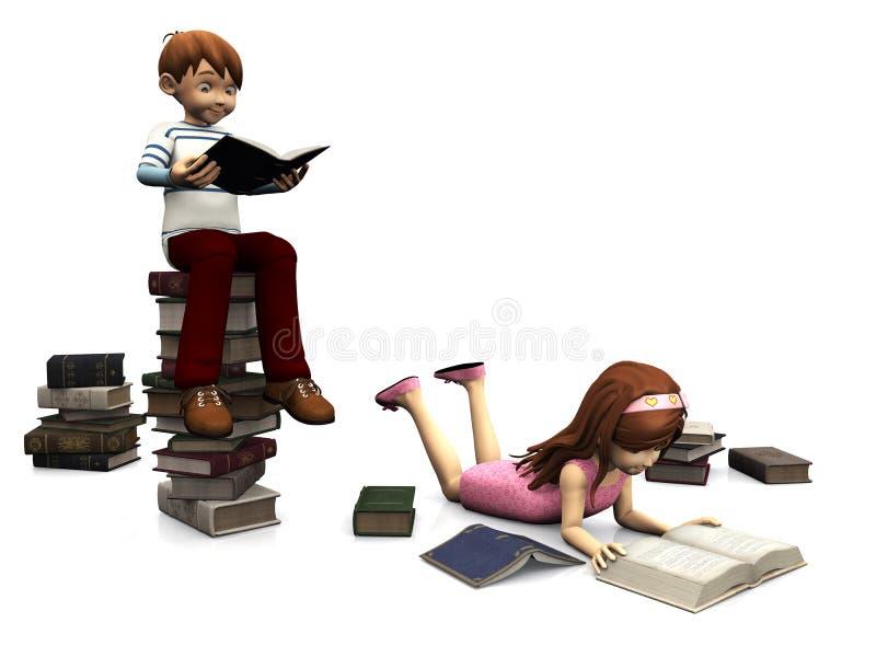 Garçon mignon et fille de dessin animé entourés par des livres. illustration libre de droits